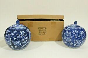 NIB Two's Company Canton Design #3408 Pair of Squat Bulbous Melon Jars #2