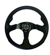 "LAND ROVER DEFENDER 14"" BLACK VINYL/BLACK SPOKE STEERING WHEEL & 36 SPLINE BOSS"