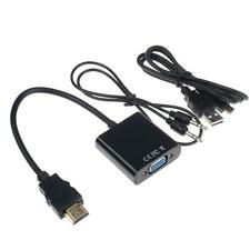 1080P HDMI Male to VGA Audio Video Converter Adapter Cable for PC Laptop TV LCD
