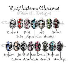 Sister Heart Charm And Rhinestone Birthstone Beads For European Charm Bracelets