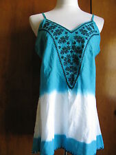 Buffalo Detailed Blue White Embroidered Top Size Large NWT