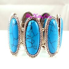 Ethnic Antique Vintage Braid Luk Oval Turquoise Stone Bangle Flex Bracelet Cuff