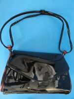 VINTAGE PATENT LEATHER & PLASTIC BLACK HAND BAG