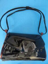 VINTAGE PATENT LEATHER & PLASTIC BLACK HAND BAG