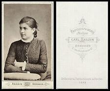 1888 CDV PHOTO PORTRAIT OF A BEAUTIFUL WOMAN & DRESDEN, GERMANY STUDIO