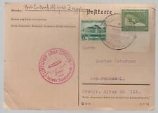 1938 Sudetenland Germany Graf Zeppelin 2 PC Cover LZ 130 Reichenberg back cancel