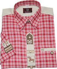 Trachtenhemd Hemd aufwendig verarbeitet 1/2 Arm rot Kariert bestickt OS-TRACHTEN