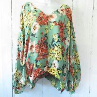 Umgee Top XL Green Asian Floral Tie Dolman Sleeve Boho Peasant Plus Size