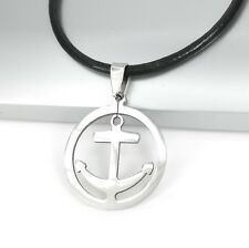 Mens Silver Stainless Steel Boat Anchor Pendant Black Leather Surfer Necklace