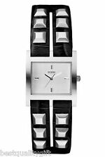 NEW GUESS BLACK STUDDED LEATHER STRAP SQUARE DIAL WOMEN WATCH-W70025L1