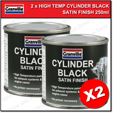 2x Granville Cylinder Black High Temperature Satin Paint Exhaust & Engine 250ml
