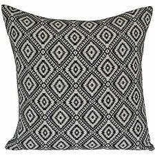 "Diamond Black White Cushion Covers Aztec Geometric Retro 50cm 20"" Cotton"