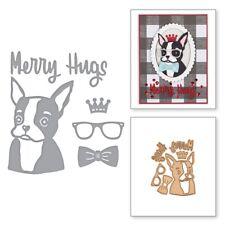 Merry Hugs Cute Dog Metal Cutting Dies DIY Craft Embossing Stencil Scrapbooking