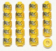 LEGO LOT OF 20 NEW YELLOW MINIFIGURE HEADS MECHANICAL FACE EYEGLASS AGENTS