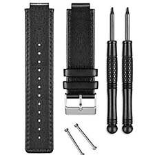 Garmin vivoactive Black Leather Watch Strap Band & Removal Tools 010-12157-07
