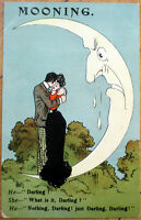 1907 Postcard: Man-In-the-Moon Crying, Couple Embracing, 'Mooning'