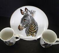 Vintage ENESCO Fine China BORN FREE ZEBRA PLATE cup/mugs SET by HP Luetcke
