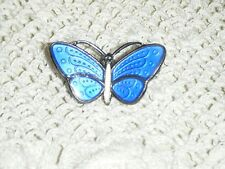 Aksel Holmsen Blue Enamel Guillioche Butterfly w/HM Norway Sterling 925S