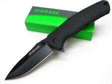 SCHRADE Black STRAIGHT Black Carbon Steel Folding LINERLOCK Pocket Knife! SCH003