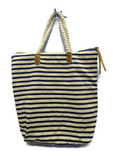 Summer & Rose Navy Striped Beige Tote Beach Bag FabFitFun- MSRP $55