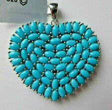 13.69Ct Sleeping Beauty Turquoise 925 Sterling Silver Pendant, Heart ,Certificat
