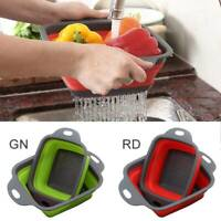 2x Collapsible Colander Fruit Vegetable Washing Drain Basket Folding Strainer