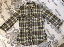 Arizona Jean Co. Womens sz SMALL Plaid Button Down Shirt Gray Yellow/Green Top