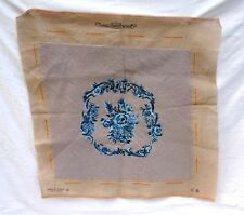 French Hand Made Needlepoint Tapestry Chair Pillow Cover Blue Flowers Garlands