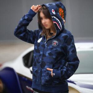 Unisex Jaw Hoodie Camo Shark Head Jacket Sweatshirt Full Zip Men's Women's