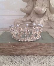 Antique French Ballerina Tulle, Wax Flower & Faux Pearls Crown Tiara