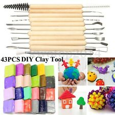 32Pcs DIY Malleable Soft Polymer Plasticine Modelling Clay Block + 11X Clay Tool