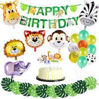 36pcs Jungle Animals Balloons Set Foil Balloon Happy Birthday Banner Party Decor