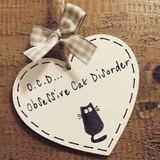 OCD Obsessive Cat Disorder Plaque Funny  Heart Wooden Sign Gift Friend Family