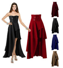 Retro Damen Gothic Asymmetrisch Rock lang Vintage Skirt Victorian Kleid Party HS