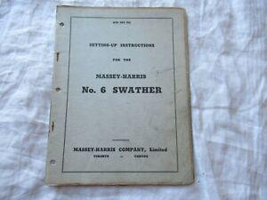 Massey Harris No. 6 swather operator's set up instruction manual
