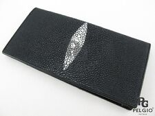 PELGIO Real Genuine Stingray Skin Leather Men's Checkbooks Long Wallet Black