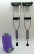 """American Girl Doll Crutches and Purple Cast for Broken Leg Set for 18"""" Doll"""