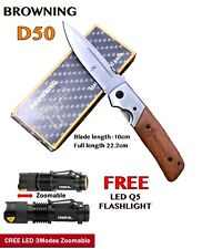 .Large Browning DA50 Airforce Pocket Knife + FREE: Q5 LED CREE FLASHLIGHT