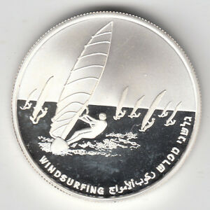 ISRAEL 2004 Athens Olympiad games WINDSURFING PROOF SILVER COIN, 2NIS