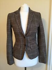 H&M Check Fitted Blazer Jacket Size Uk4/6/8 Elbow Patch Equestrian Pockets EUR32