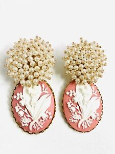 anthropologie pink rose cameo pearl gorgeous statement bridal earrings