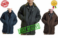 Mens Wax Cotton Check Lined Padded Jacket Hunting Fishing Riding Coat Size
