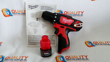 "New Milwaukee 2407-20 M12 12V Li-Ion Cordless 3/8"" Drill/Driver & One Battery"