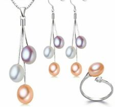 Freshwater Earrings And Ring Multi Color Pearl Jewellery 925 Sterling Silver Set