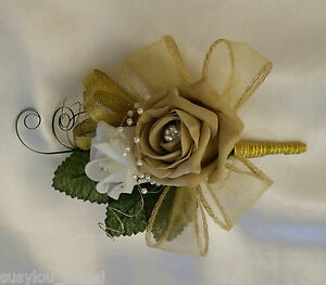 Chardonnay Luxury Pin On Wedding Bridal Corsage Coffee Ivory Roses Gold Pearls