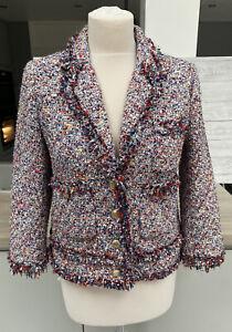 Zara Blazer Tweed Frayed Boucle Coat Jacket Size M Medium
