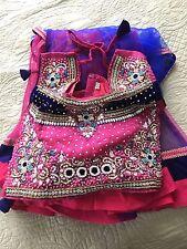 Girl Indian Wedding Dress Sari Saree Pink Gold Embroidery & Scarf Size 6 / Small