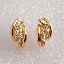 18ct Yellow Gold Fancy Creole Stud Earrings 1.78g *NEW* Girlfriend Xmas Gift 18k