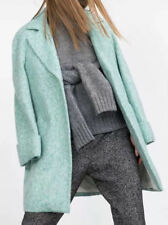 Zara Wool Blend Turquoise Coat Size XS Basic Collection Jaket Fall Winter
