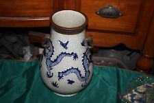 Quality Chinese Celadon Dragon Vase-Blue & White-Elephant Handle-Marked Bottom-1